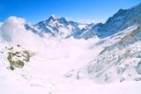 Mist at Jungfraujoch, part of Swiss Alpine Alps Switzerland. poster