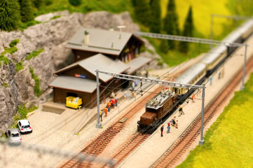 miniature model railroad Alpine station
