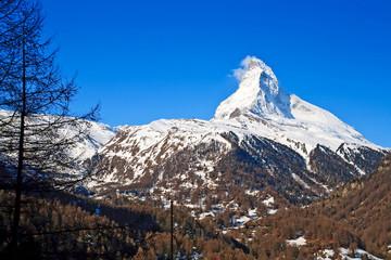 Landscape of Matterhorn Peak from Zermatt City, Switzerland