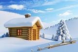 Fototapety house in snow mountain