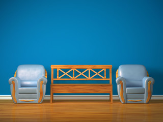 Two chairs with wooden bench in blue interior