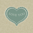 Gift card with heart shaped space for text in a in beige gamut
