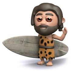 3d Caveman carries his surfboard to the beach