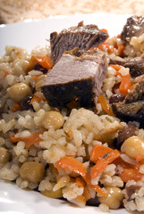 Photo of traditional Asian dish pilaf close-up