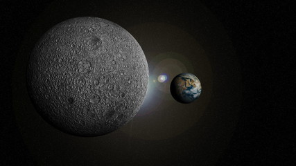 3d animation of the solar system with focus on the earth
