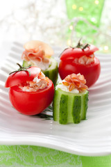Stuffed cucumber and tomato