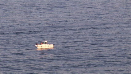 View of a stationary boat  on the sea