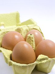 Four eggs in a yellow-green holder