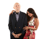 Rich elderly man with gold-digger companion or wife poster