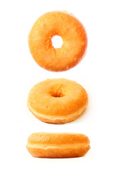 Three donuts in different positions