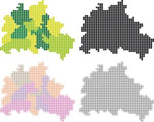 Berlin-Karte aus Vierecken (Bezirke unterteilt), bearbeitbar