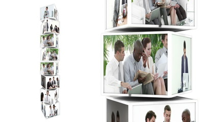 Cubes montage representing businesspeople at work in white space