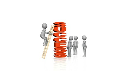 3d businessmen trying to climb the word success