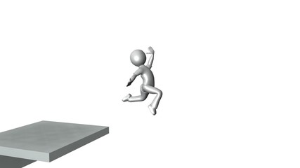animation showing 3d man climbing stairs to reach success