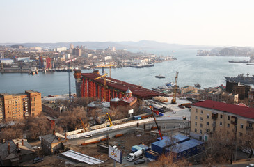 Vladivostok. Bridge building through a bay the Gold Horn