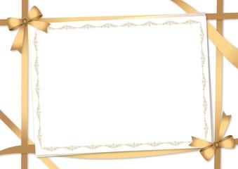 メッセージカードとゴールドのリボン 白バック