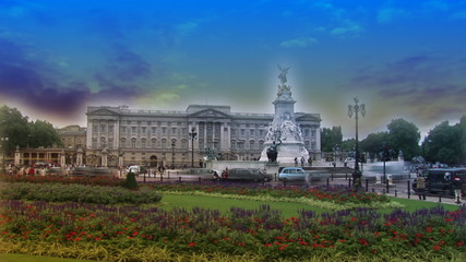 Time lapse of people in front of Buckingham Palace