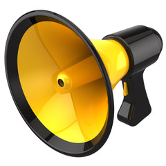 Megaphone (yellow with black parts). 3D render (Hi-Res)