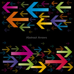Bidirectional Abstract Arrows on black background