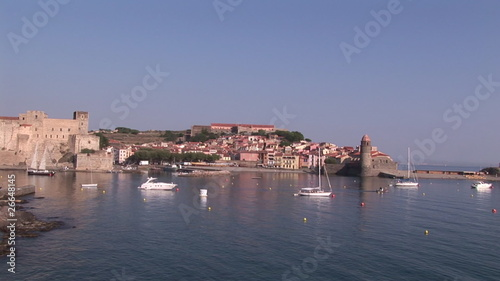 View of a town and marina in France