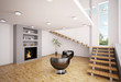 Modern Wohnzimmer mit Kamin Interior 3d render