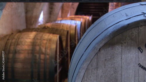 Close up of barrels in a private wine cellar