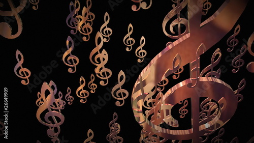 3d animation showing treble clefs falling down on a black back