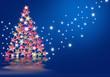christmas abeto con estrellas en fondo azul