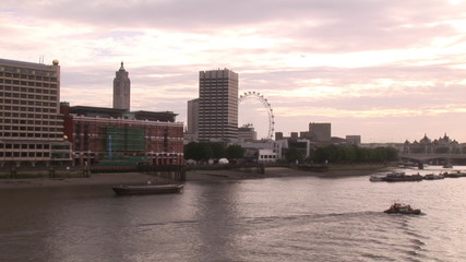 View from the river Thames of The City in London