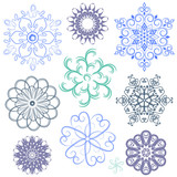 New set pastel snowflakes
