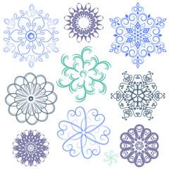 New set pastel snowflakes