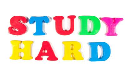 study hard written in fridge magnets