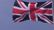 Below view of the flag of the United Kingdom in the wind
