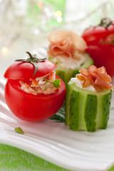 Stuffed cucumber and tomato