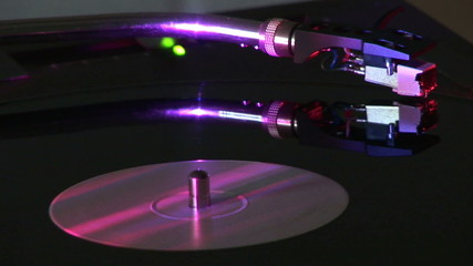 Record turnning on a turntable