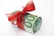 Leinwanddruck Bild - Geldscheinbündel mit Geschenkband