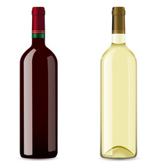 bottle with red and white wine
