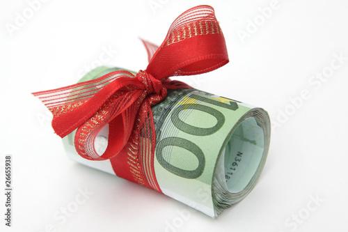 Leinwanddruck Bild Geldscheinbündel mit Geschenkband