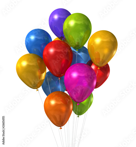 multi colored balloons group isolated on white