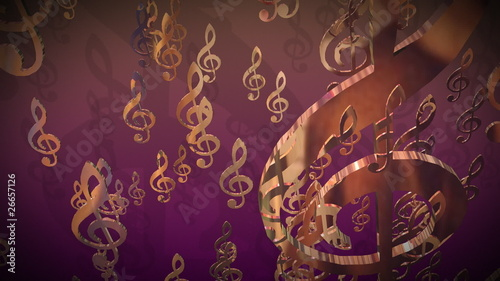 3d gold treble clef falling against a purple background