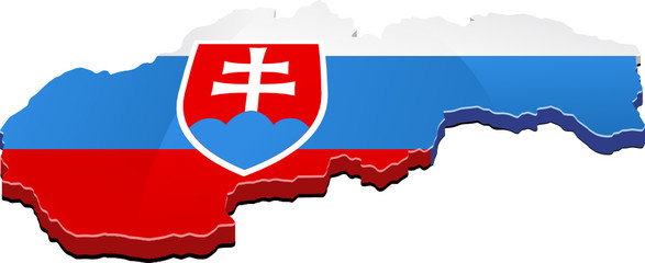 Carte de la Slovaquie 3D drapeau (détouré)