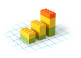 Business graph lego blocks on grid showing growth poster