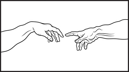 The Creation of Adam. Fragment (Outline vesion)