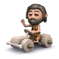 3d Caveman drives off in his new car