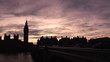 View from the road of Big ben over beautiful sunset