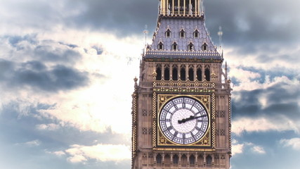 Close of big ben against a beautiful sky