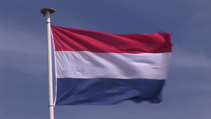 Flag of the Netherlands in the wind by a sunnny day