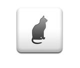 Boton cuadrado blanco gato negro poster