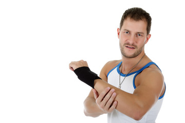 Young  attractive caucasian man athlete, bandaged