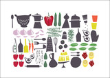 graphic retro set about food, perfect for restaurant menu